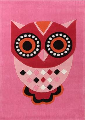 Unitex International Gorgeous Pink Owl Kids Rug