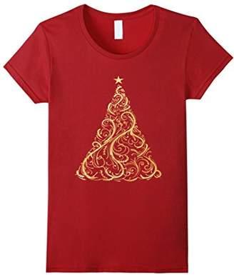 Christmas Tree Gold Deocrative Holiday Fashion T Shirt
