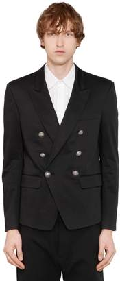 Balmain Double Breasted Cotton Blend Jacket