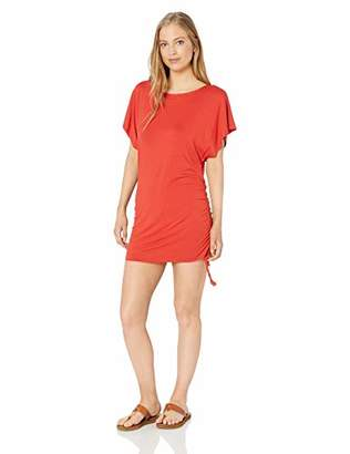 Lucky Brand Women's Side Shirred Boat Neck Tunic Cover Up