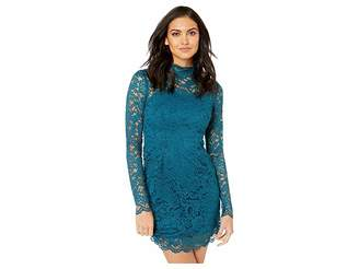 Betsey Johnson Long Sleeve Mock Neck Lace Dress