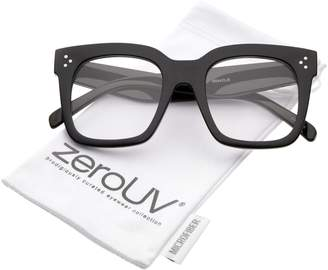 Zerouv Oversize Wide Temple Flat Lens Horn Rimmed Square Glasses 51mm