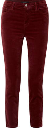 J Brand Ruby Cropped Cotton-blend Velvet Straight-leg Pants - Burgundy