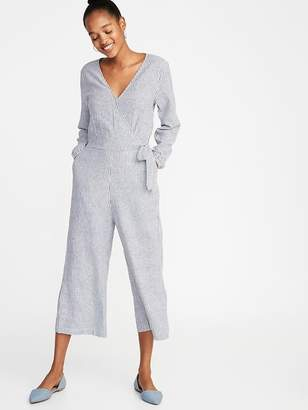 57414789fb Old Navy Waist-Defined Linen-Blend Striped Jumpsuit for Women