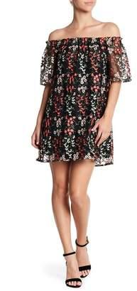 BB Dakota Gates Floral Embroidered Off-the-Shoulder Dress