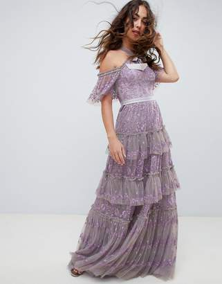 Needle & Thread embroidered lace cold shoulder maxi gown in lavender