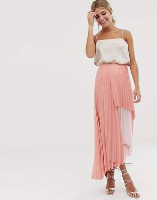 a61dc1a4cb602c Asos Design DESIGN pleated tiered maxi skirt in pink color block