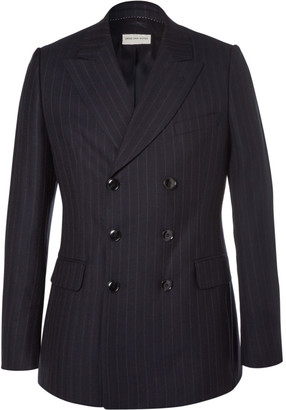 Dries Van Noten Blue Slim-Fit Double-Breasted Pinstriped Wool Suit Jacket $1,275 thestylecure.com