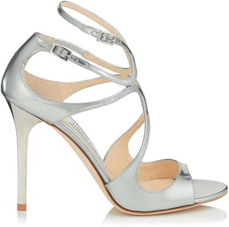 Jimmy Choo LANG Silver Liquid Mirror Leather Sandals