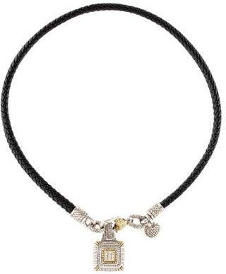 aeab1d0d4534 Pre-Owned at TheRealReal · Judith Ripka Diamond Square Enhancer Leather  Necklace