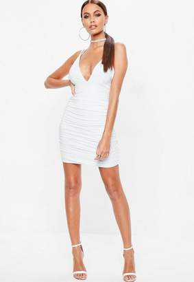 Missguided White Slinky Cross Back Ruched Side Dress