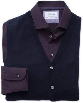 Charles Tyrwhitt Navy Merino Wool Vest Size Small