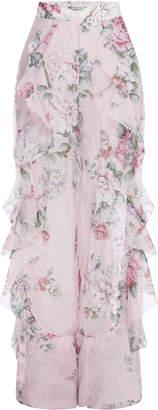 Alice McCall Ruffled Floral-Print Silk-Chiffon Wide-Leg Pants