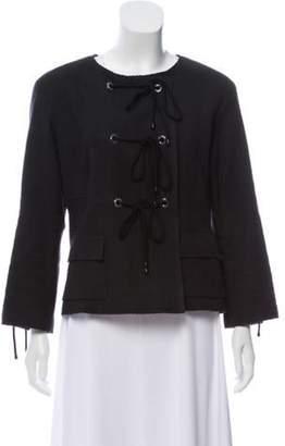 Chanel Tweed Tie-Accented Jacket Black Tweed Tie-Accented Jacket