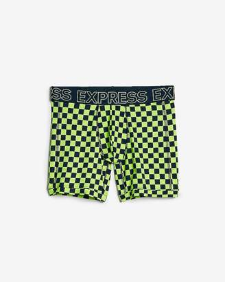 Express Green Check Print Performance Boxer Briefs