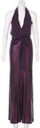 Nicole Miller Surplice Neck Sequin Gown