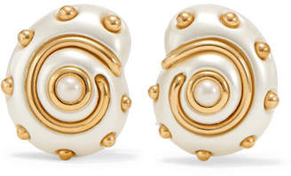 Kenneth Jay Lane Gold-tone Faux Pearl Clip Earrings - White