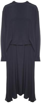 Cédric Charlier Draped Crepe Midi Dress