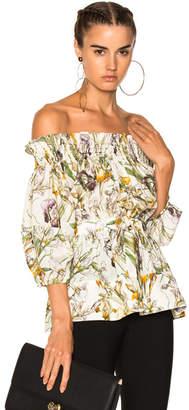 Alexander McQueen Wild Iris Print Off Shoulder Blouse