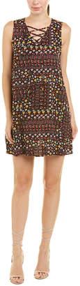 BCBGMAXAZRIA Floral Lace-Up Shift Dress