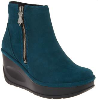 Fly London Leather Zip Wedge Boots - Jome