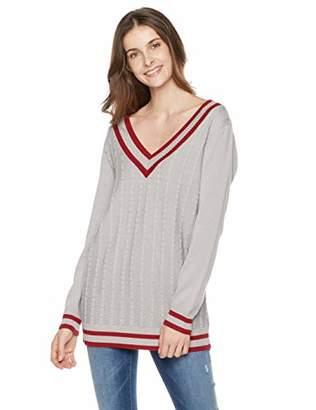 The Boyfriend Style Women's Acrylic/Cotton V-Neck Striped Cable Stitch Pullover Sweater