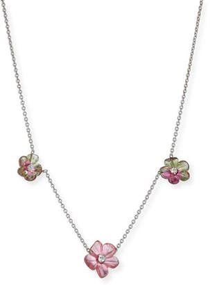 Rina Limor Fine Jewelry Floral Tourmaline Station Necklace with Diamonds