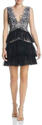 BCBGMAXAZRIA Lace & Tulle Cocktail Dress