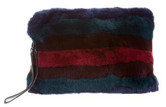 Alice + Olivia Striped Fur Clutch w/ Tags