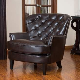 Noble House Taylor Tufted Brown Leather Club Chair