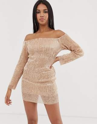 Club L London off shoulder long sleeve sequin mini dress in rose gold