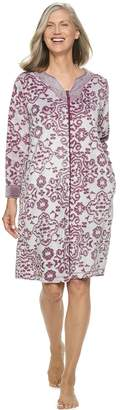 Croft & Barrow Women's Paisley Plush Zip Robe