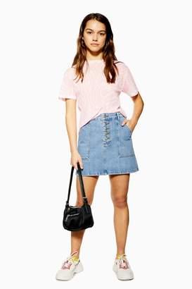 Topshop Womens Petite Five Button Denim Skirt - Mid Stone