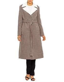 Chlo Check Wool Long Coat W/Contrast Collar