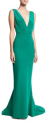 Diane von Furstenberg Deep V Sleeveless Tailored Gown, Green $998 thestylecure.com
