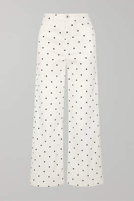 Eve Denim Charlotte Polka-dot High-rise Wide-leg Jeans - White