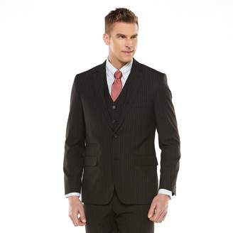 Savile Row Men's Modern-Fit Striped Black Suit Jacket