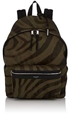 Saint Laurent Men's City Tiger-Striped Canvas Backpack - Dk. Green