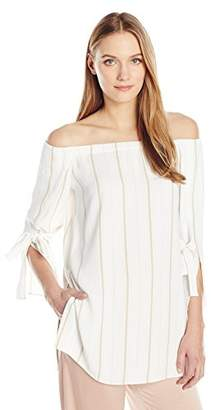 Halston Women's Long Sleeve Off Shoulder Boat Neck Top and Wide Cuff