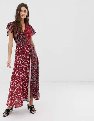 French Connection v neck wrap maxi dress