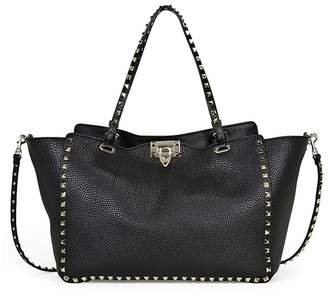 Valentino Rockstud Medium Double Handle Pebbled Leather Tote Bag