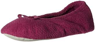Isotoner Women's Chevron Microterry Ballerina House Slipper with Moisture Wicking and Fabric Sole for Comfort