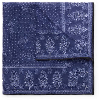 Drakes Drake's Printed Cotton, Modal And Cashmere-Blend Pocket Square