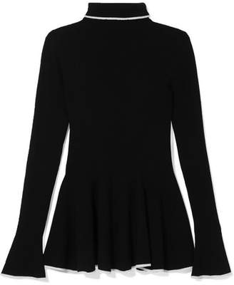 ADAM by Adam Lippes Two-tone Merino Wool Turtleneck Sweater - Black