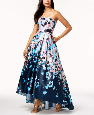 Betsy & Adam Printed Strapless Ballgown