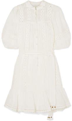 Zimmermann Castile Crochet-paneled Embroidered Ramie Mini Dress