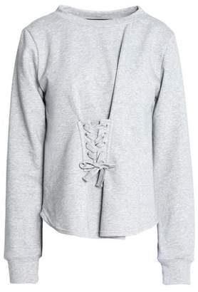 Isabella Collection W118 By Walter Baker Lace-Up French Terry And Cotton-Blend Poplin Sweatshirt