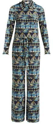 La Doublej - Umbrellas Print Long Sleeve Jumpsuit - Womens - Blue Multi
