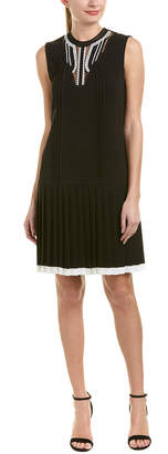 Yigal Azrouel Pleated Silk-Trim Shift Dress