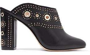 Rachel Zoe Ramona Eyelet-Embellished Studded Leather Mules